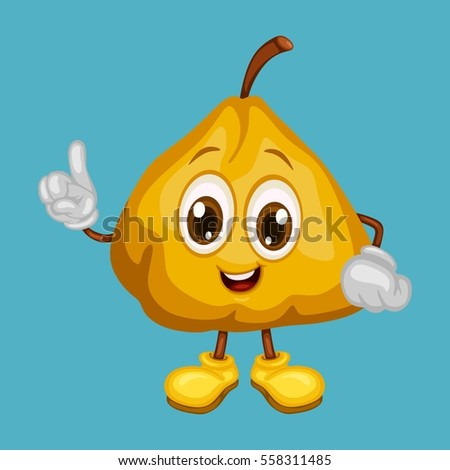Cartoon Illustration Of A Happy Ugli Fruit Pointing Up With Finger
