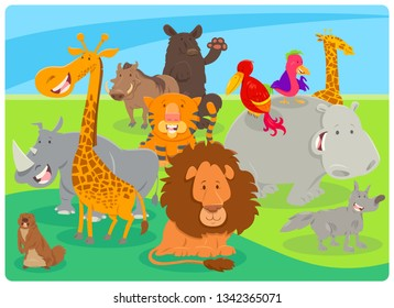 Cartoon Illustration of Happy Wild Animal Species Characters Group