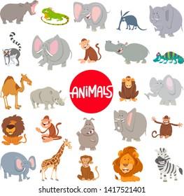 Cartoon Illustration of Happy Wild Animal Characters Large Set