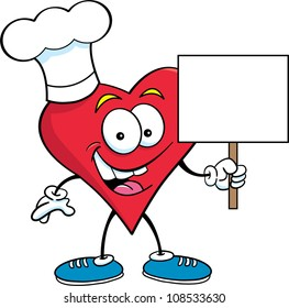 Cartoon illustration of a heart wearing a chef's hat and holding a sign