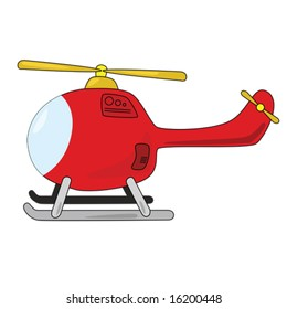 Cartoon illustration of helicopter, isolated on white