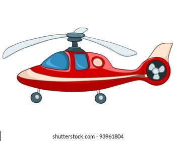 Cartoon Illustration Helicopter Isolated on White Background. Vector.