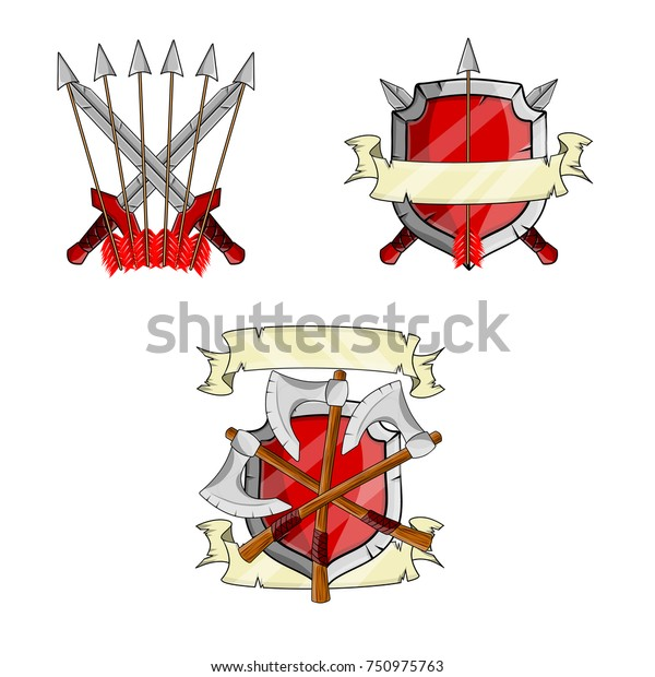 cartoon illustration - heraldic coat of arms red shield with crossed axe,  arrow and ribbon