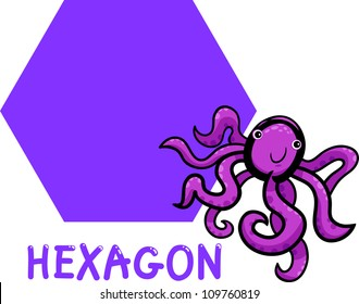 Cartoon Illustration of Hexagon Basic Geometric Shape with Funny Octopus Character for Children Education