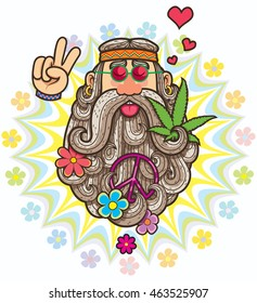 Cartoon illustration of hippie.