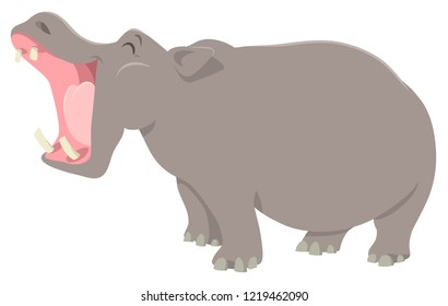 Cartoon Illustration of Hippo or Hippopotamus Funny Animal Character