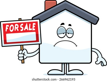 A cartoon illustration of a home for sale looking sad.