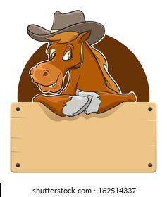 Cartoon illustration of a horse with wooden board