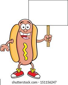 Cartoon illustration of a hotdog holding a sign.