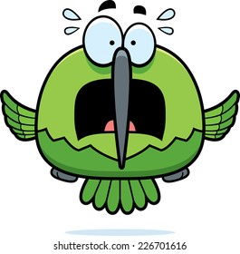 A cartoon illustration of a hummingbird looking scared.