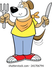 Cartoon illustration of a hungry dog holding a knife and fork