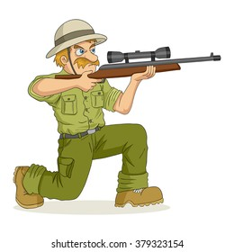 Cartoon illustration of a hunter aiming a rifle