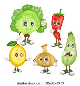 Cartoon Illustration of Ice Lettuce, Jalapeno, Lemon, Vidalia Onion and Zucchini. Set of Cute Veggie Mascots. Vector Illustration