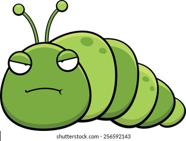 Cartoon illustration of an inch worm with a grumpy expression.