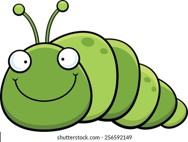 Cartoon illustration of an inch worm with a wide smile.