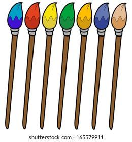 cartoon illustration of isolated set of colorful brushes