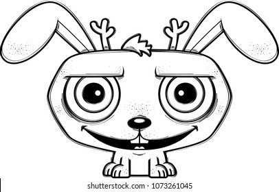 A cartoon illustration of a jackalope looking happy.