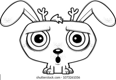 A cartoon illustration of a jackalope looking surprised.