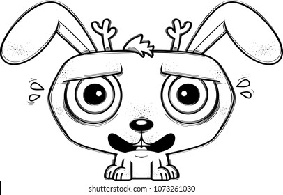 A cartoon illustration of a jackalope looking terrified.