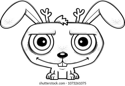 A cartoon illustration of a jackalope smiling.