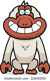 A cartoon illustration of a Japanese macaque grinning.
