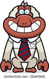 A cartoon illustration of a Japanese macaque in a tie.