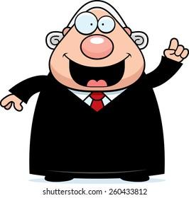 A cartoon illustration of a judge with an idea.