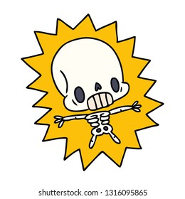 cartoon illustration kawaii electrocuted skeleton