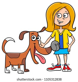 Cartoon Illustration of Kid Girl with Funny Dog or Puppy