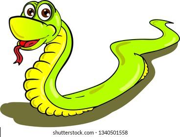 Cartoon illustration of kind snake crawling on white background.