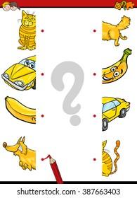 Cartoon Illustration of Kindergarten Education Halves Matching Activity Task for Children