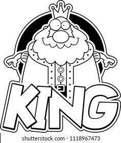 A cartoon illustration of a king with the text king.