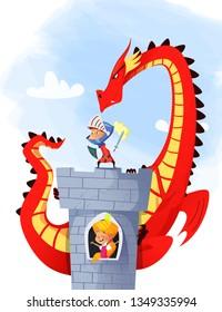 Cartoon illustration of knight saving princess from dragon. Vector