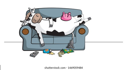 Cartoon illustration of a lazy cow character chilling on the couch with a remote control, drinks can and chips packet on the floor.