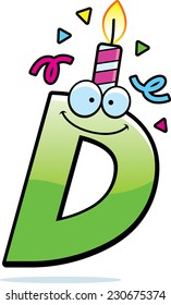 A cartoon illustration of a letter D with a birthday candle and confetti.