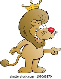 Cartoon illustration of a lion with a crown