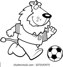 A cartoon illustration of a lion playing soccer.