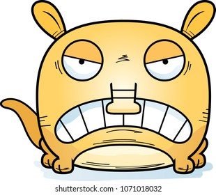 A cartoon illustration of a little aardvark with an angry expression.