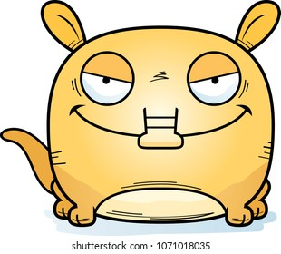 A cartoon illustration of a little aardvark with a devious expression.