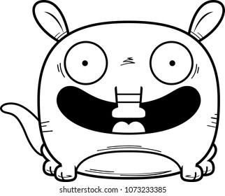 A cartoon illustration of a little aardvark happy and smiling.