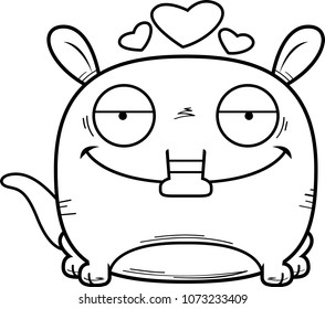 A cartoon illustration of a little aardvark with an in love expression.