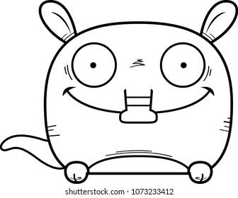 A cartoon illustration of a little aardvark peeking over an object.
