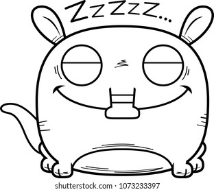 A cartoon illustration of a little aardvark taking a nap.