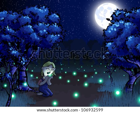 Cartoon Illustration Little Girl Catching Fireflies Stock Vector