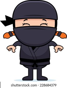 A cartoon illustration of a little ninja standing.