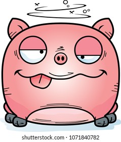 A cartoon illustration of a little pig looking drunk.