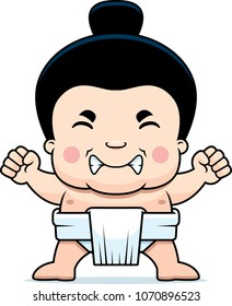 A cartoon illustration of a little sumo boy looking angry.