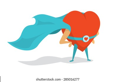 Cartoon illustration of a love super hero heart wearing cape