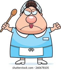 A cartoon illustration of a lunch lady looking angry.
