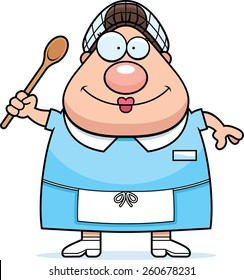 A cartoon illustration of a lunch lady looking happy.